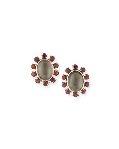 Gray Mother-of-Pearl & Red Garnet Clip Earrings