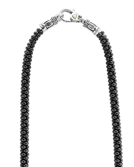 "Black Caviar Rope Necklace, 16""L"