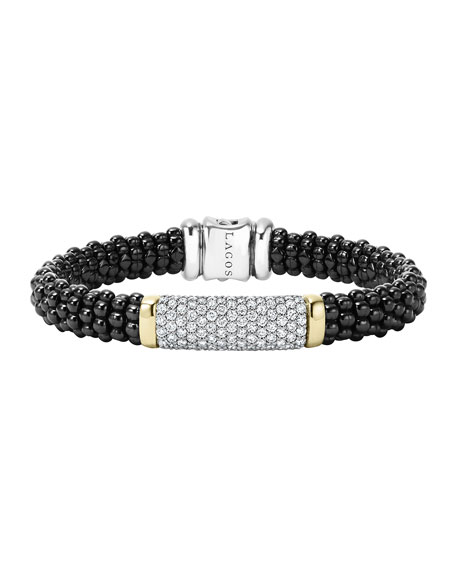 LAGOS Black Caviar Large Diamond Station Bracelet, 9mm