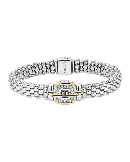 Lagos Pave Diamond Cushion Rope Bracelet, 9mm