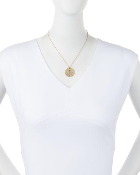 Pave City Disc Pendant Necklace