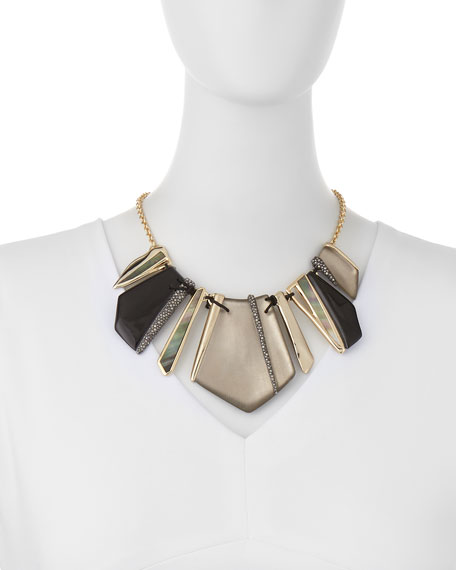 Lucite Encrusted Laced Shard Bib Necklace, Black/Warm Gray