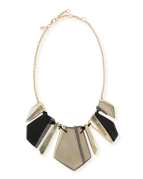 Alexis Bittar Lucite Encrusted Laced Shard Bib Necklace, Black/Warm Gray