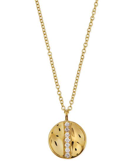 Image 1 of 3: Ippolita 18K Gold Senso™ Medium 15.5mm Disc Pendant Necklace with Diamonds