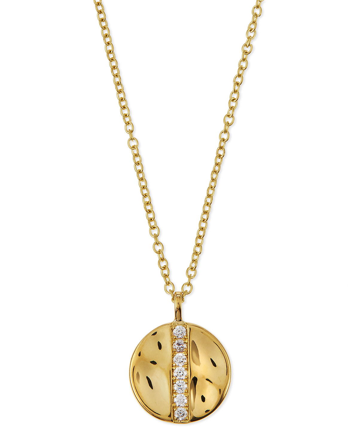 Ippolita 18K Gold Senso™ Medium 15.5mm Disc Pendant Necklace with Diamonds