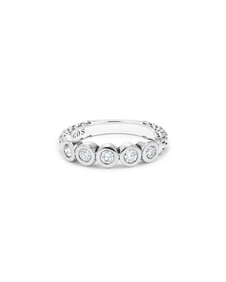 LAGOS Silver Caviar 5-Diamond Stacking Ring, Size 7