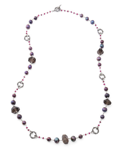 Verona Long Quartz/Pearl Necklace, 39