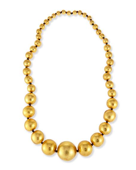 "Viktoria Hayman Statement Gold Foil Beaded Ball Necklace, 39""L"