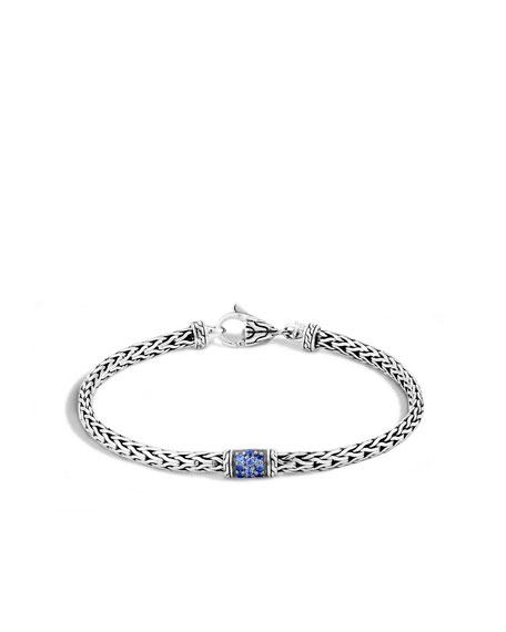 John Hardy 40th Anniversary Classic Chain Lava Slim Bracelet w/ Blue ...