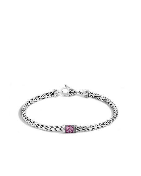 40th Anniversary Classic Chain Lava Slim Bracelet w/Pink Sapphires