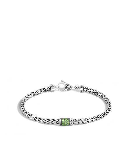 40th Anniversary Classic Chain Lava Slim Bracelet w/ Green Tsavorite
