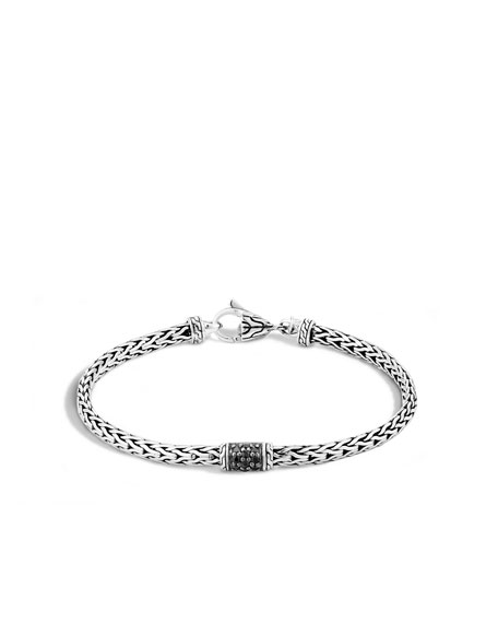 40th Anniversary Classic Chain Lava Slim Bracelet w/ Black Sapphires