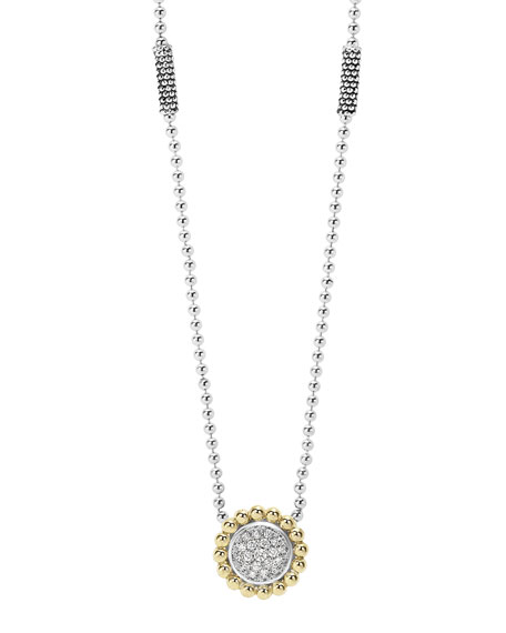 Lagos 12mm Pavé Diamond & Caviar Pendant Necklace