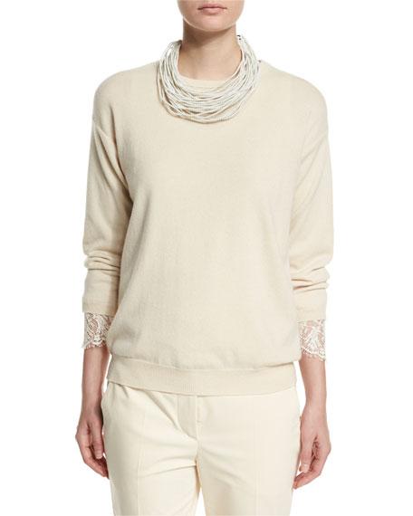 Brunello Cucinelli Multi-Strand Choker Necklace, White
