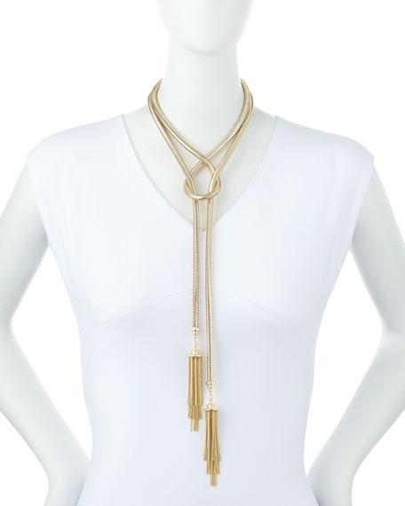 "McKayla Snake-Chain Lariat Necklace, 60""L"