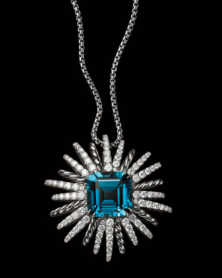 Starburst Hampton Blue Topaz Pendant Necklace