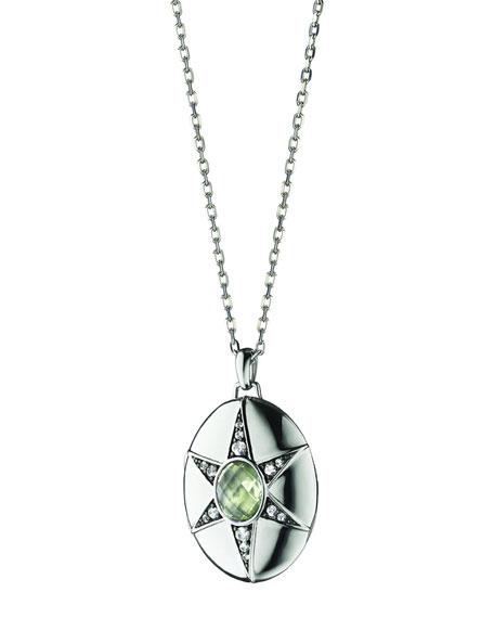 """Prasiolite & White Sapphire Locket Necklace, 32"""""""