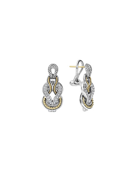 Lagos Newport Elongated 18K Gold Diamond Rope Earrings