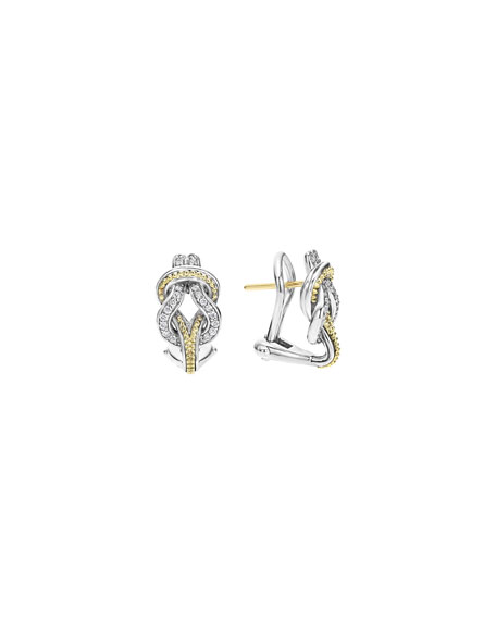 Lagos Newport 18K Gold Diamond Knot Earrings
