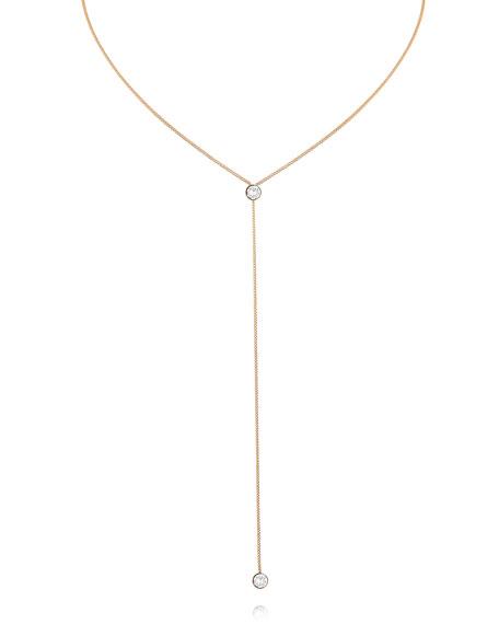 O'Hara 24K Rose Gold Solitaire Y-Drop Necklace