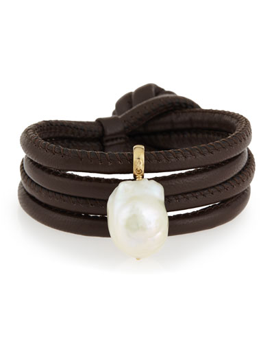 Convertible Leather Wrap Bracelet/Choker with Baroque Pearl, Brown