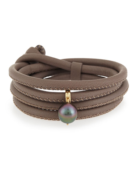 Mizuki Convertible Leather Wrap Bracelet/Choker with Pearl Charm,