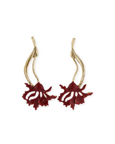 Swarovski® Enamel Carnation Drop Earrings, Ruby