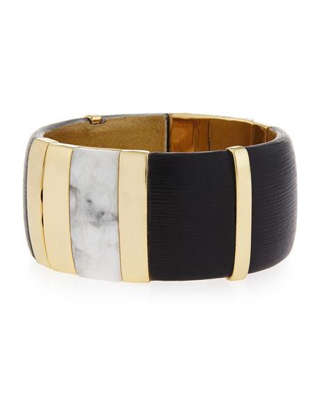 Alexis Bittar Large Colorblock Crystal Hinge Bracelet, Black
