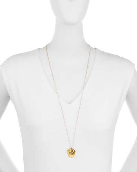 22K Gold-Plated Talisman Pendant Necklace, 36""