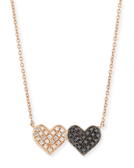 Sydney Evan 14k Rose Gold Double-Heart Pendant Necklace