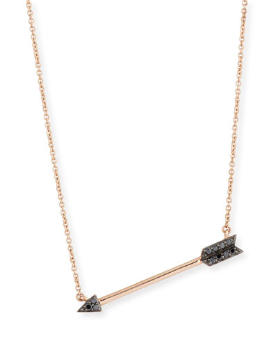 14k Rose Gold Arrow Pendant Necklace w/ Black Diamonds