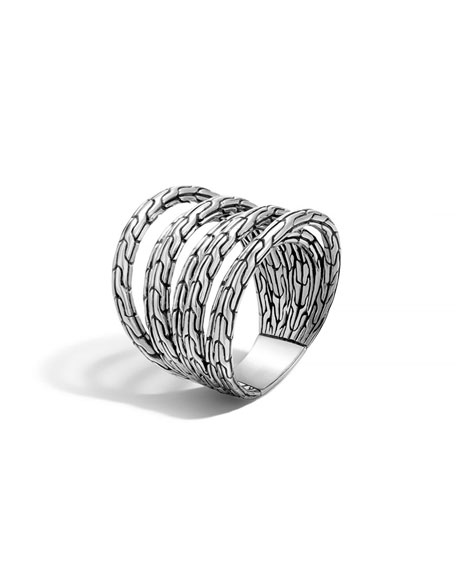 John Hardy Classic Chain Multi-Row Sterling Silver Ring C3efU