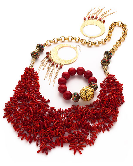 Long Multi-Strand Coral Necklace, Red