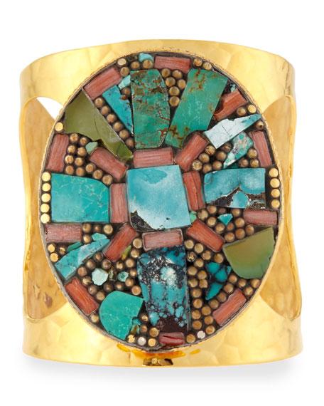 Devon Leigh Turquoise Medallion Cuff Bracelet