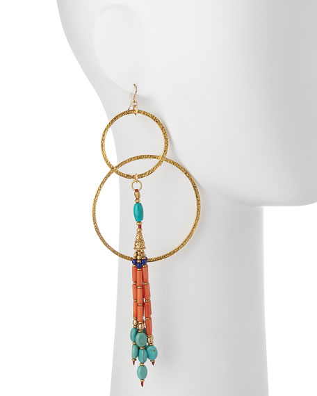 Turquoise & Coral Double-Hoop Earrings