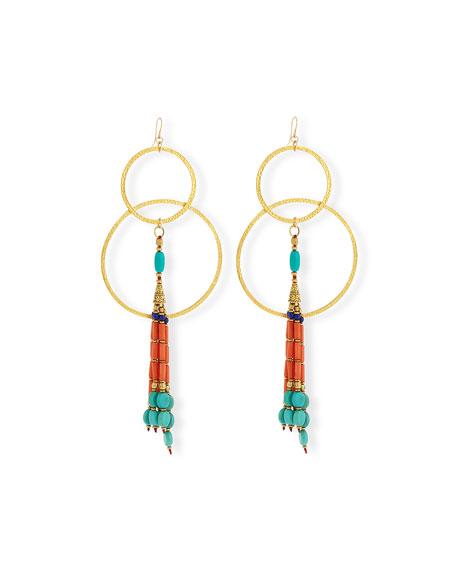 Devon Leigh Turquoise Leaf Pendant Earrings 2VfO0w