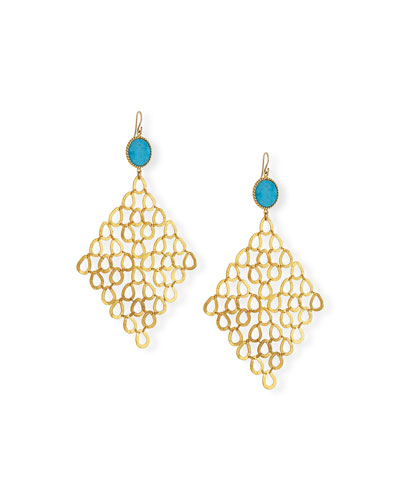 Turquoise Chain-Link Statement Earrings