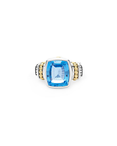 Caviar Color 14mm Blue Topaz Ring, Size 7