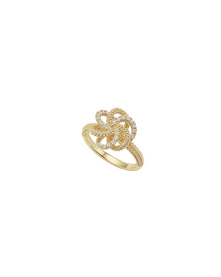 Lagos Love Knot 18K Diamond Ring, Size 7