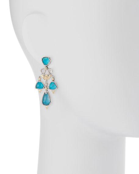 Sterling Silver Doublet Crystal Quartz Over Chandelier Earrings