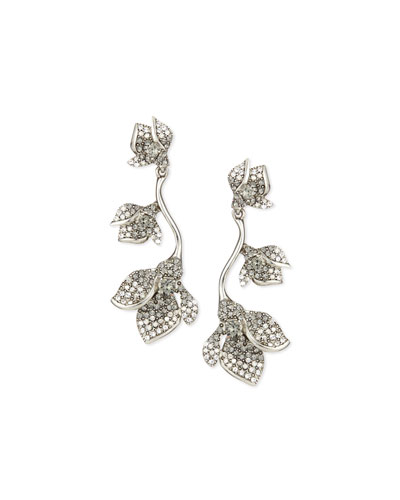 Gradient Crystal Flower Drop Earrings, Black