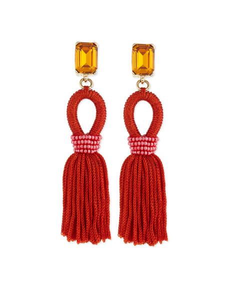Oscar de la Renta Short Woven Tassel Earrings,