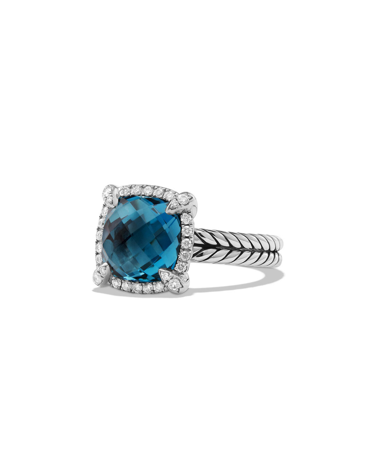 33ae16a73a10 David Yurman 9mm Châtelaine Ring with Diamonds in Blue Topaz ...