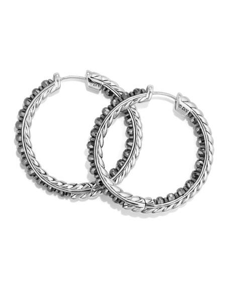 Cable Berries Faceted Hematine Hoop Earrings
