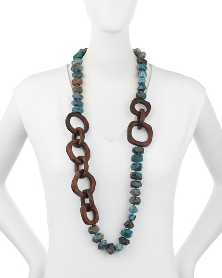 """Apatite Stone & Wooden Bead Necklace, 40""""L"""