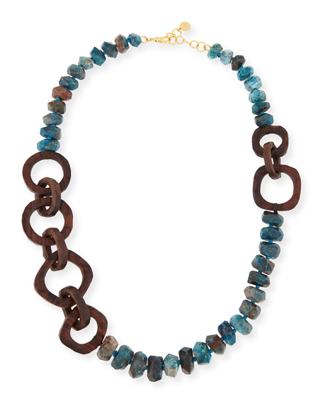"Apatite Stone & Wooden Bead Necklace, 40""L"