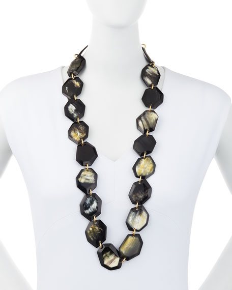 "Faceted Horn Station Necklace, 34""L"