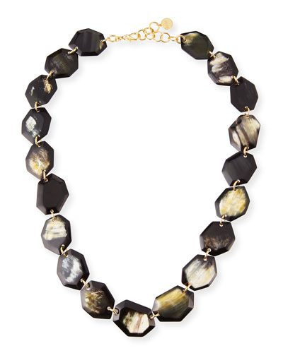 Faceted Horn Station Necklace, 34