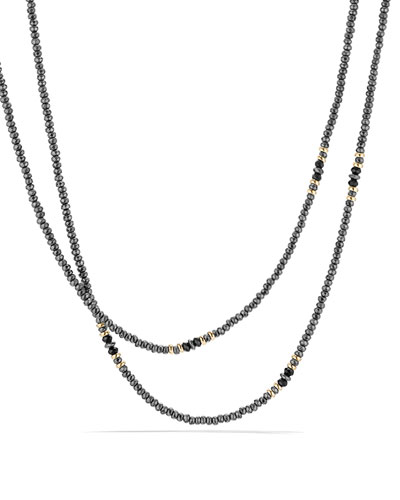 Osetra Tweejoux Faceted Hematine & Black Onyx Necklace, 36