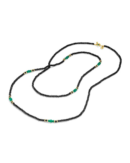 """Osetra Tweejoux Black Spinel & Green Onyx Necklace, 36"""""""